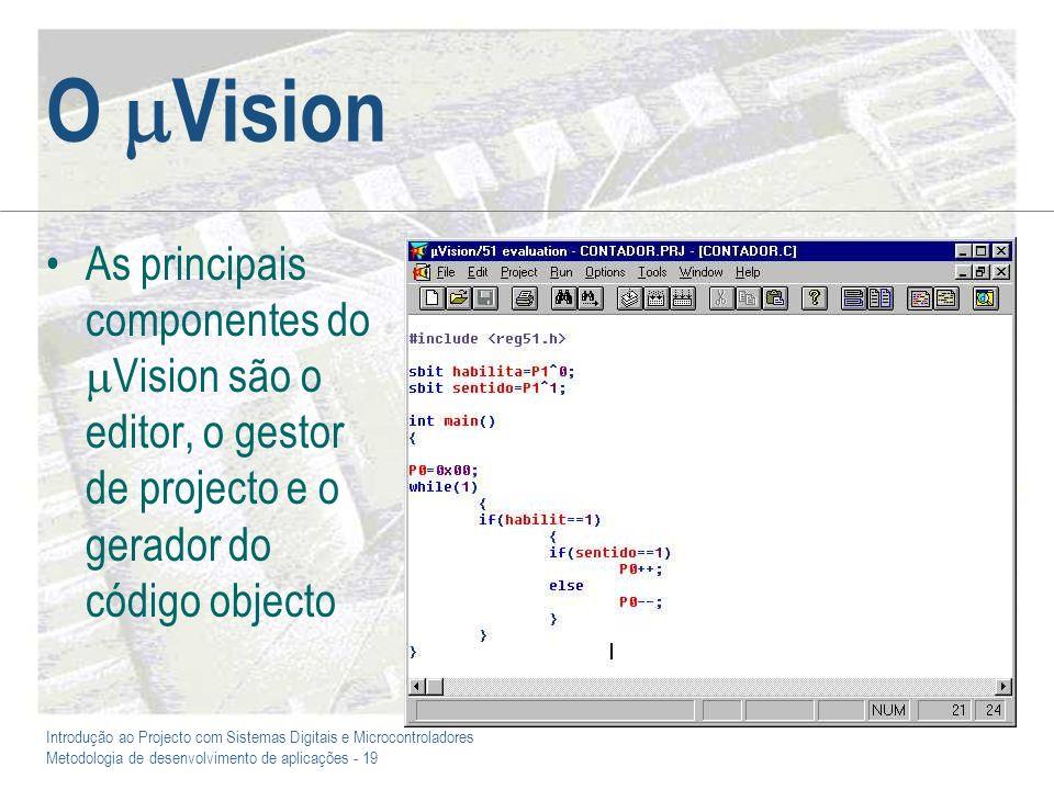 Introdução ao Projecto com Sistemas Digitais e Microcontroladores Metodologia de desenvolvimento de aplicações - 19 O Vision As principais componentes