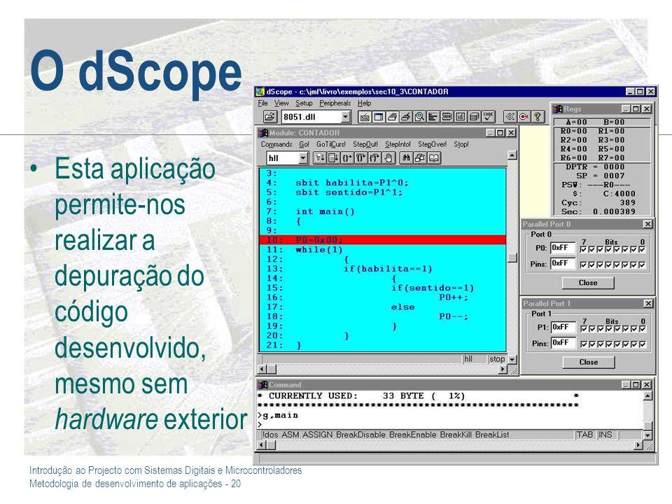 Introdução ao Projecto com Sistemas Digitais e Microcontroladores Metodologia de desenvolvimento de aplicações - 20 O dScope Esta aplicação permite-no