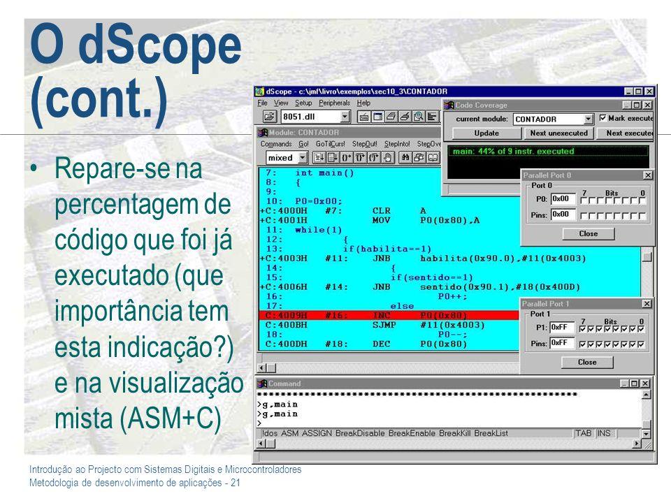 Introdução ao Projecto com Sistemas Digitais e Microcontroladores Metodologia de desenvolvimento de aplicações - 21 O dScope (cont.) Repare-se na perc