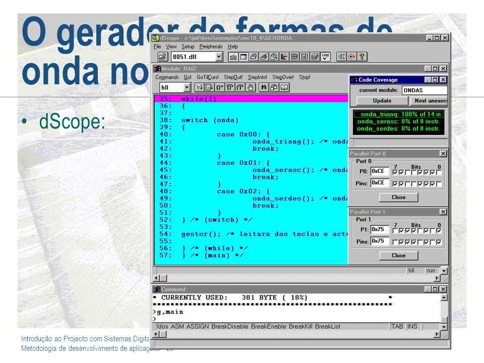Introdução ao Projecto com Sistemas Digitais e Microcontroladores Metodologia de desenvolvimento de aplicações - 26 O gerador de formas de onda no dSc