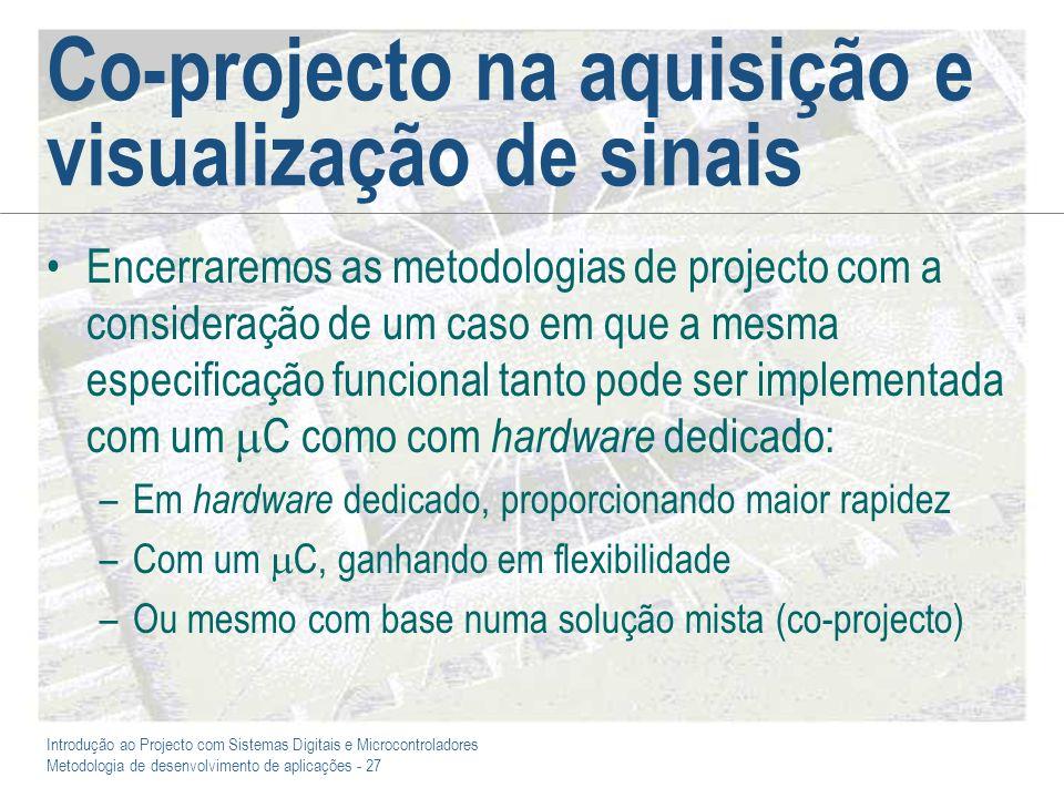 Introdução ao Projecto com Sistemas Digitais e Microcontroladores Metodologia de desenvolvimento de aplicações - 27 Co-projecto na aquisição e visuali