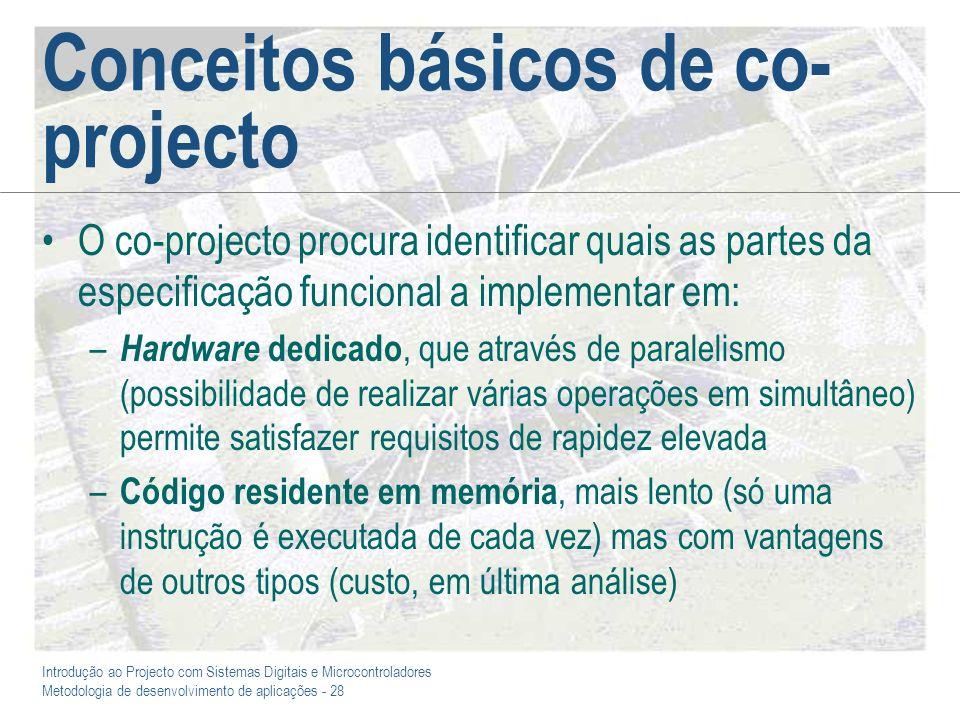 Introdução ao Projecto com Sistemas Digitais e Microcontroladores Metodologia de desenvolvimento de aplicações - 28 Conceitos básicos de co- projecto