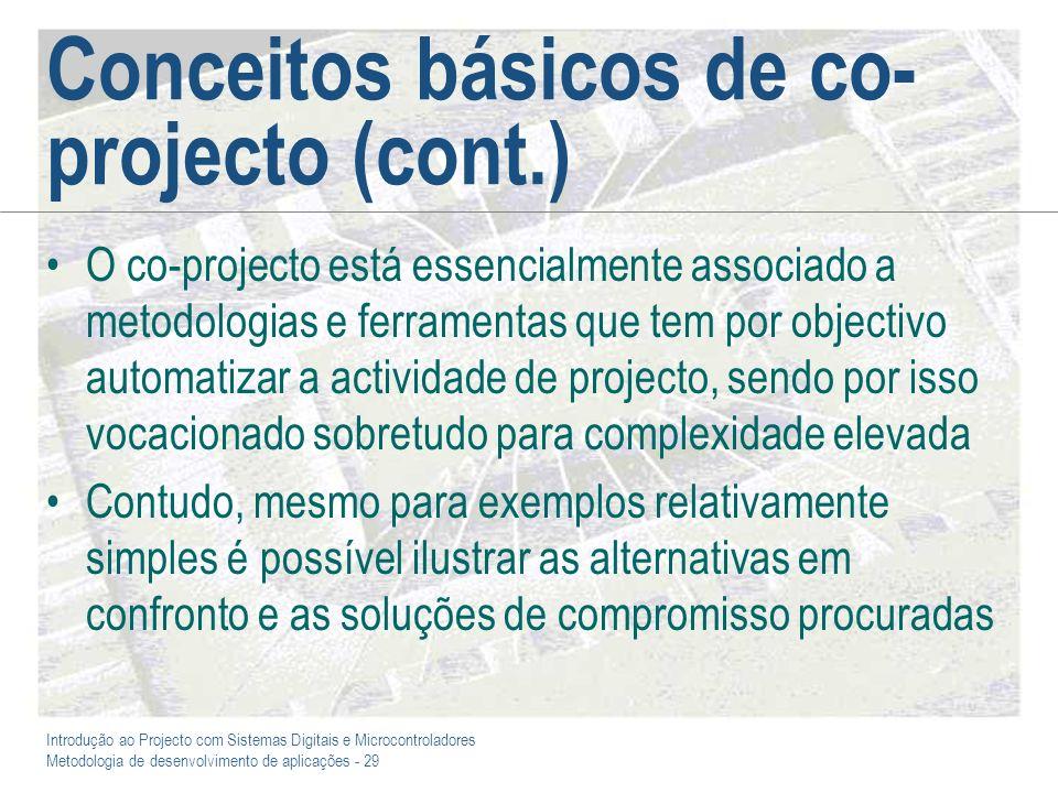 Introdução ao Projecto com Sistemas Digitais e Microcontroladores Metodologia de desenvolvimento de aplicações - 29 Conceitos básicos de co- projecto