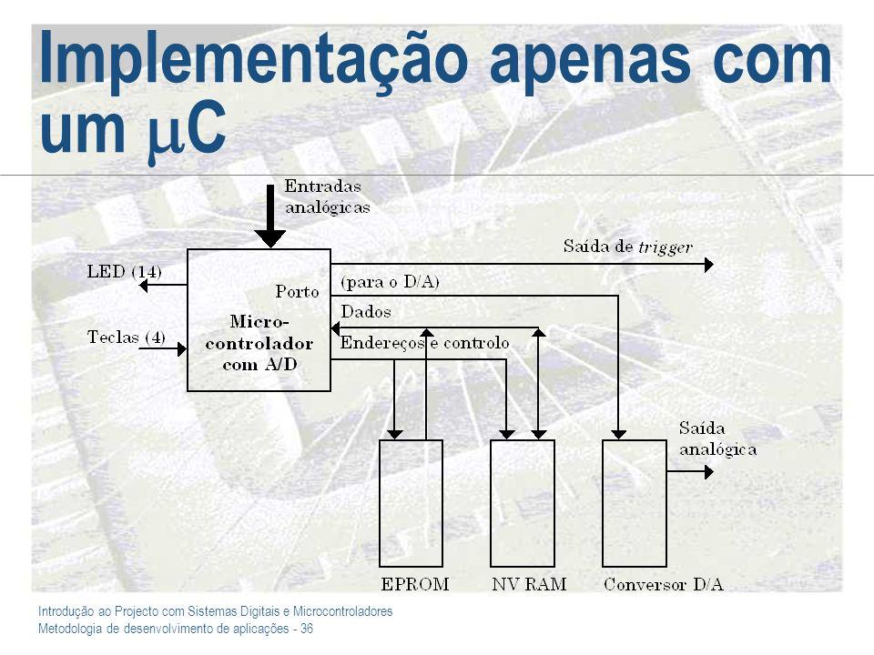 Introdução ao Projecto com Sistemas Digitais e Microcontroladores Metodologia de desenvolvimento de aplicações - 36 Implementação apenas com um C
