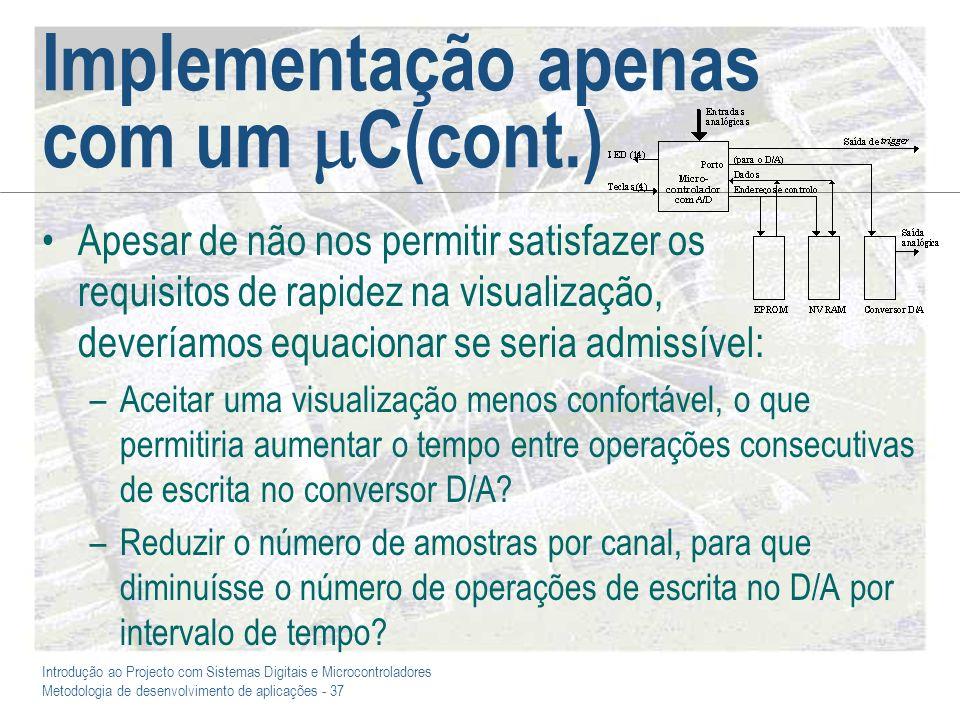 Introdução ao Projecto com Sistemas Digitais e Microcontroladores Metodologia de desenvolvimento de aplicações - 37 Implementação apenas com um C(cont