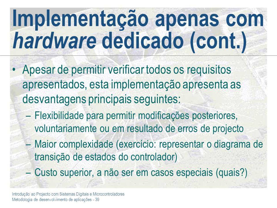 Introdução ao Projecto com Sistemas Digitais e Microcontroladores Metodologia de desenvolvimento de aplicações - 39 Implementação apenas com hardware