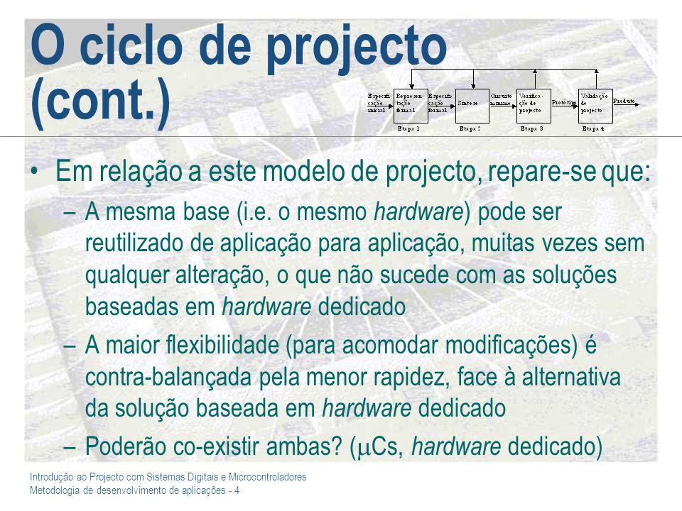 Introdução ao Projecto com Sistemas Digitais e Microcontroladores Metodologia de desenvolvimento de aplicações - 4 O ciclo de projecto (cont.) Em rela