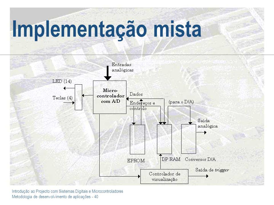 Introdução ao Projecto com Sistemas Digitais e Microcontroladores Metodologia de desenvolvimento de aplicações - 40 Implementação mista
