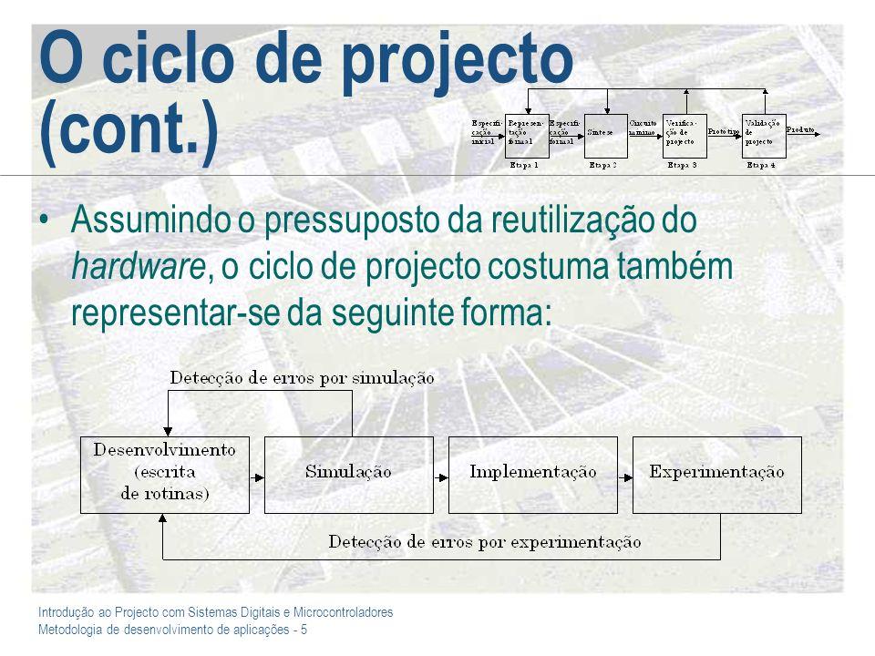 Introdução ao Projecto com Sistemas Digitais e Microcontroladores Metodologia de desenvolvimento de aplicações - 5 O ciclo de projecto (cont.) Assumin