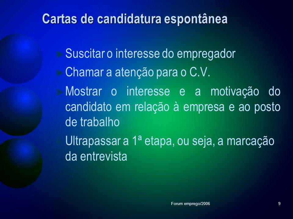Forum emprego/20069 Cartas de candidatura espontânea Suscitar o interesse do empregador Chamar a atenção para o C.V. Mostrar o interesse e a motivação