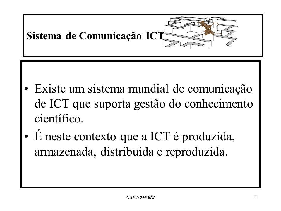 Ana Azevedo1 Sistema de Comunicação ICT Existe um sistema mundial de comunicação de ICT que suporta gestão do conhecimento científico. É neste context