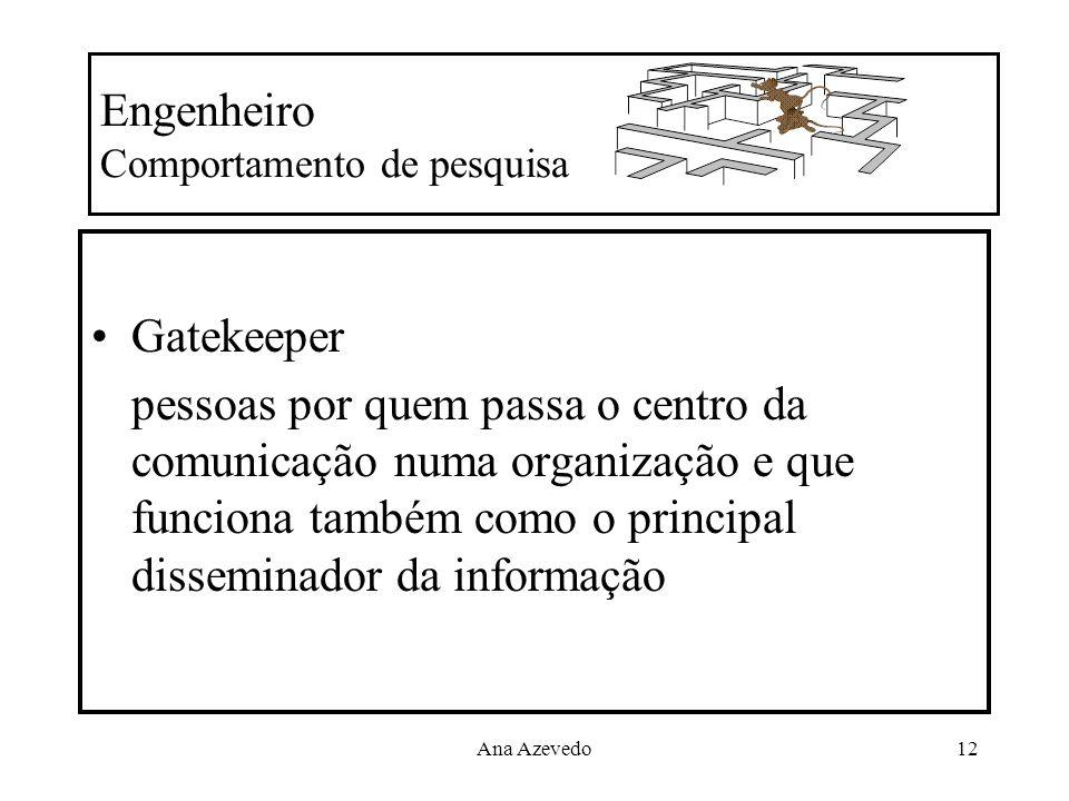 Ana Azevedo12 Engenheiro Comportamento de pesquisa Gatekeeper pessoas por quem passa o centro da comunicação numa organização e que funciona também co