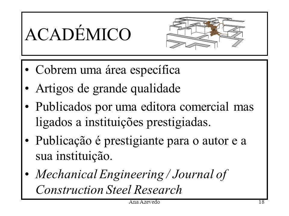 Ana Azevedo18 ACADÉMICO Cobrem uma área específica Artigos de grande qualidade Publicados por uma editora comercial mas ligados a instituições prestig