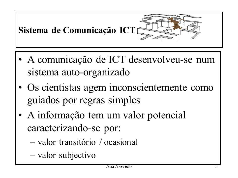 Ana Azevedo3 Sistema de Comunicação ICT A comunicação de ICT desenvolveu-se num sistema auto-organizado Os cientistas agem inconscientemente como guia