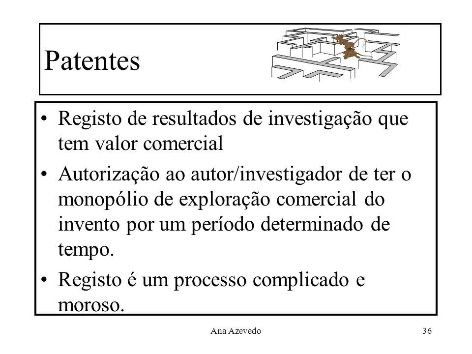Ana Azevedo36 Patentes Registo de resultados de investigação que tem valor comercial Autorização ao autor/investigador de ter o monopólio de exploraçã