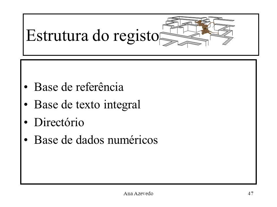 Ana Azevedo47 Estrutura do registo Base de referência Base de texto integral Directório Base de dados numéricos