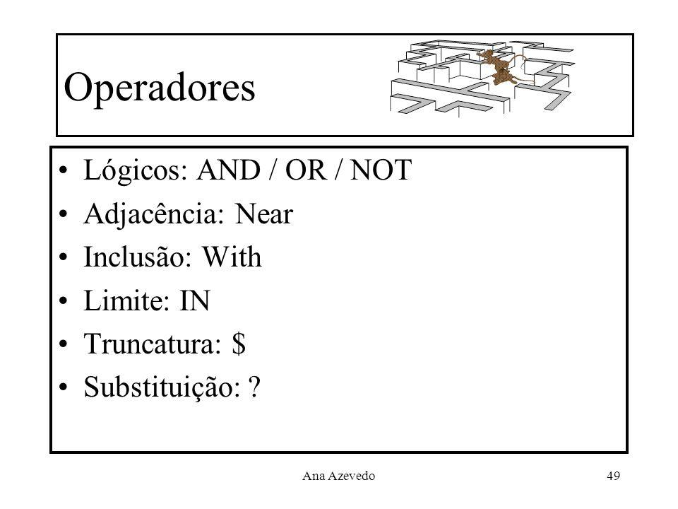 Ana Azevedo49 Operadores Lógicos: AND / OR / NOT Adjacência: Near Inclusão: With Limite: IN Truncatura: $ Substituição: ?