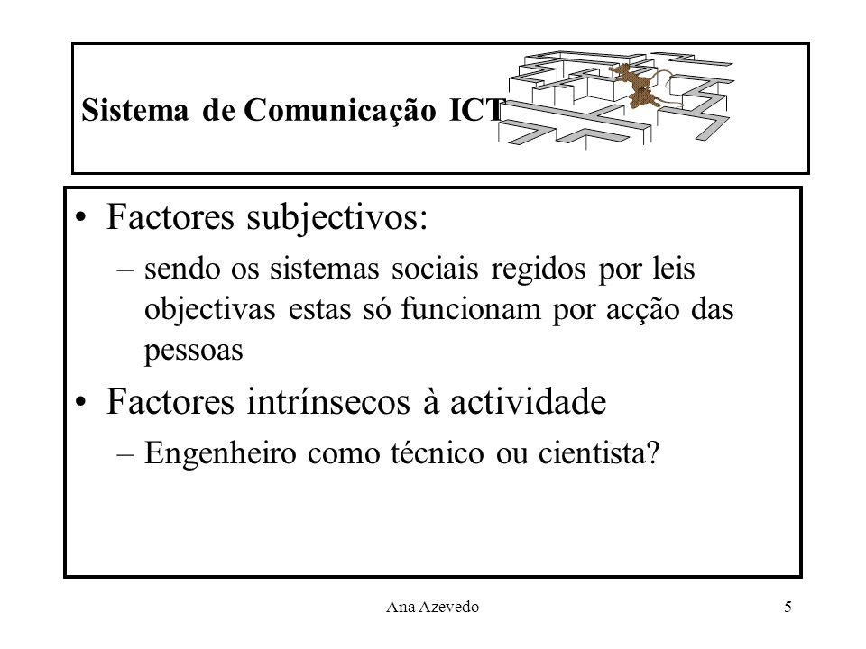 Ana Azevedo5 Sistema de Comunicação ICT Factores subjectivos: –sendo os sistemas sociais regidos por leis objectivas estas só funcionam por acção das
