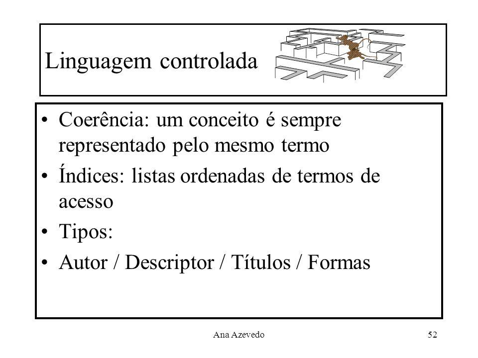 Ana Azevedo52 Linguagem controlada Coerência: um conceito é sempre representado pelo mesmo termo Índices: listas ordenadas de termos de acesso Tipos: