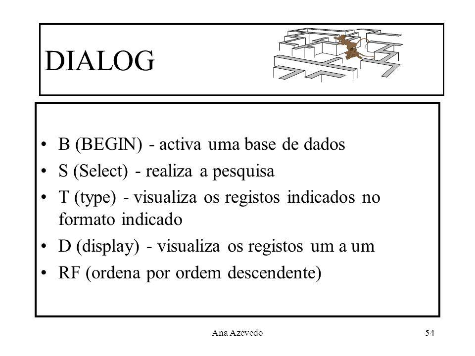 Ana Azevedo54 DIALOG B (BEGIN) - activa uma base de dados S (Select) - realiza a pesquisa T (type) - visualiza os registos indicados no formato indica