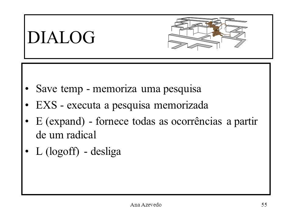 Ana Azevedo55 DIALOG Save temp - memoriza uma pesquisa EXS - executa a pesquisa memorizada E (expand) - fornece todas as ocorrências a partir de um ra