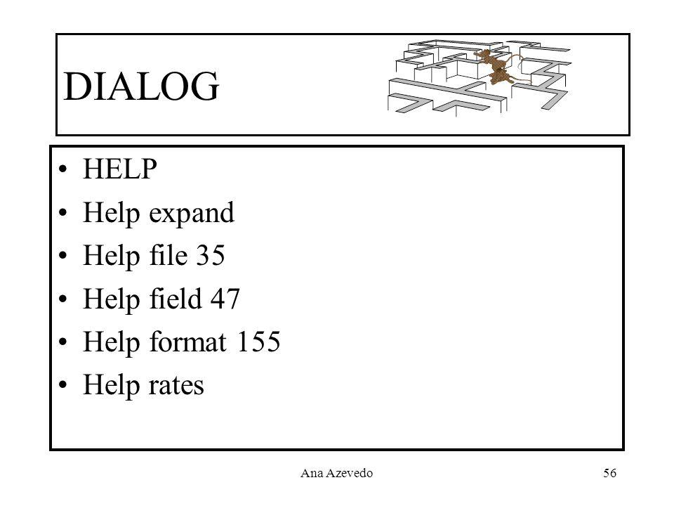 Ana Azevedo56 DIALOG HELP Help expand Help file 35 Help field 47 Help format 155 Help rates