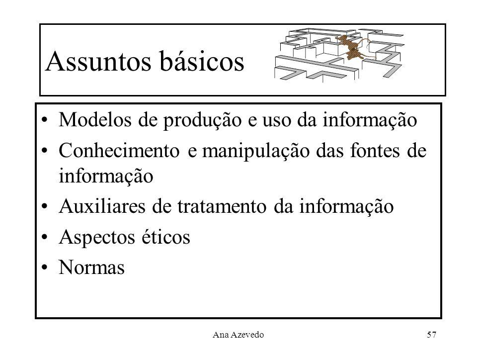 Ana Azevedo57 Assuntos básicos Modelos de produção e uso da informação Conhecimento e manipulação das fontes de informação Auxiliares de tratamento da