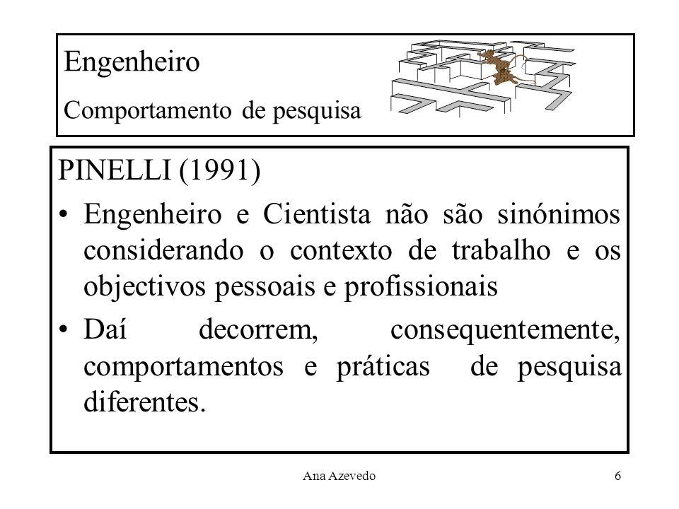 Ana Azevedo6 Engenheiro Comportamento de pesquisa PINELLI (1991) Engenheiro e Cientista não são sinónimos considerando o contexto de trabalho e os obj