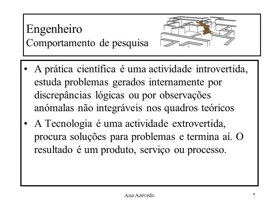 Ana Azevedo7 Engenheiro Comportamento de pesquisa A prática científica é uma actividade introvertida, estuda problemas gerados internamente por discre