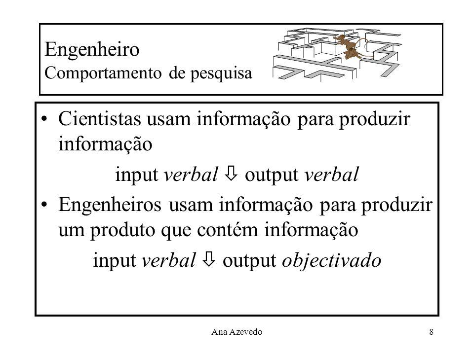 Ana Azevedo8 Engenheiro Comportamento de pesquisa Cientistas usam informação para produzir informação input verbal output verbal Engenheiros usam info