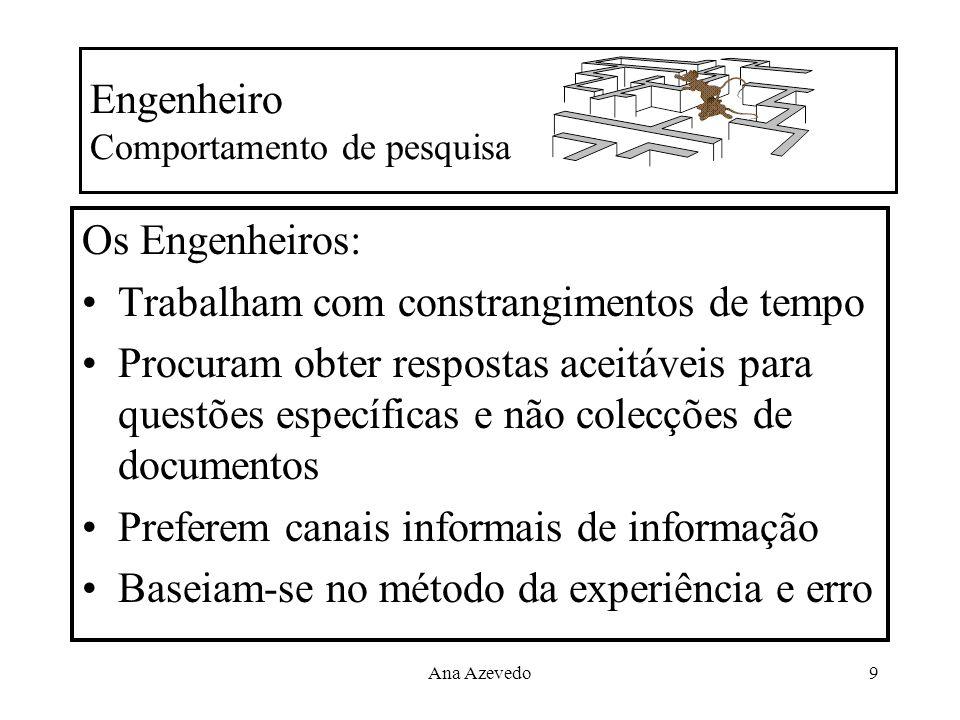 Ana Azevedo9 Engenheiro Comportamento de pesquisa Os Engenheiros: Trabalham com constrangimentos de tempo Procuram obter respostas aceitáveis para que