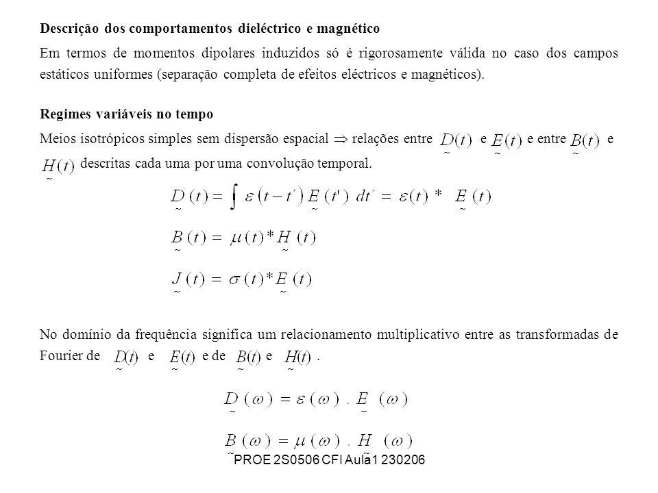 PROE 2S0506 CFI Aula1 230206 Descrição dos comportamentos dieléctrico e magnético Em termos de momentos dipolares induzidos só é rigorosamente válida