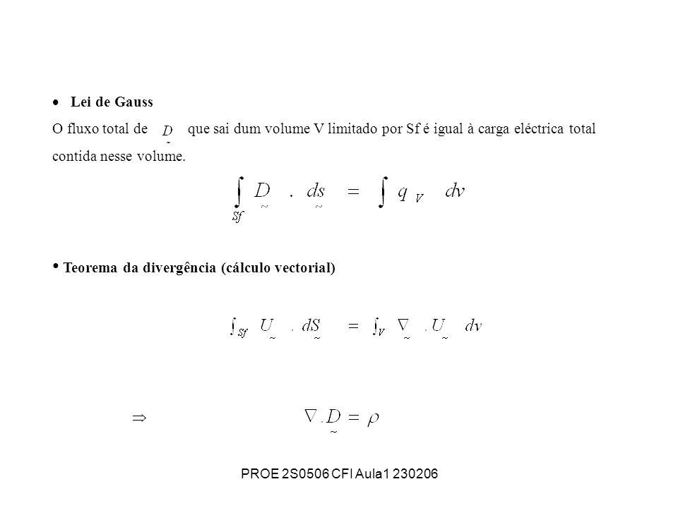 PROE 2S0506 CFI Aula1 230206 Lei de Gauss O fluxo total de que sai dum volume V limitado por Sf é igual à carga eléctrica total contida nesse volume.
