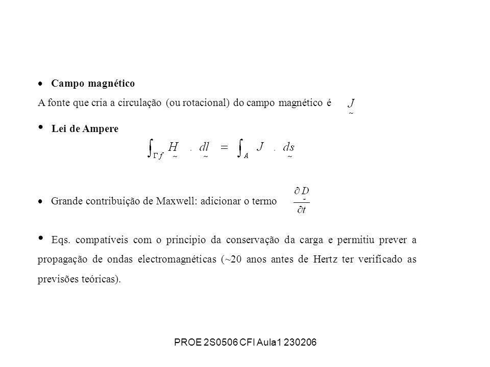 PROE 2S0506 CFI Aula1 230206 Campo magnético A fonte que cria a circulação (ou rotacional) do campo magnético é Lei de Ampere Grande contribuição de M