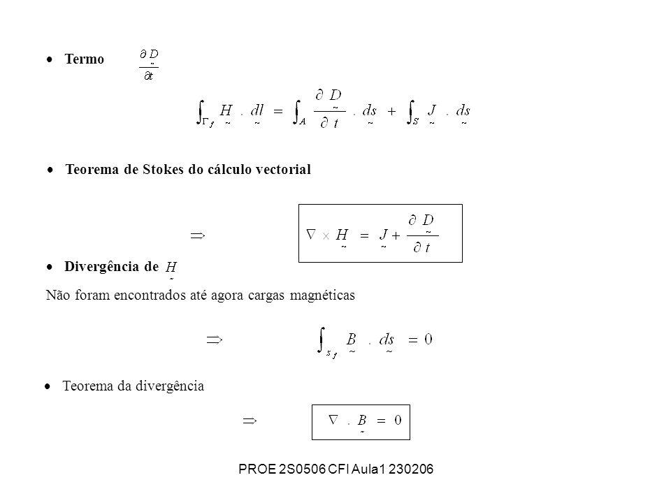 PROE 2S0506 CFI Aula1 230206 Teorema da divergência Termo traduz um fluxo de cargas eléctricas livres.