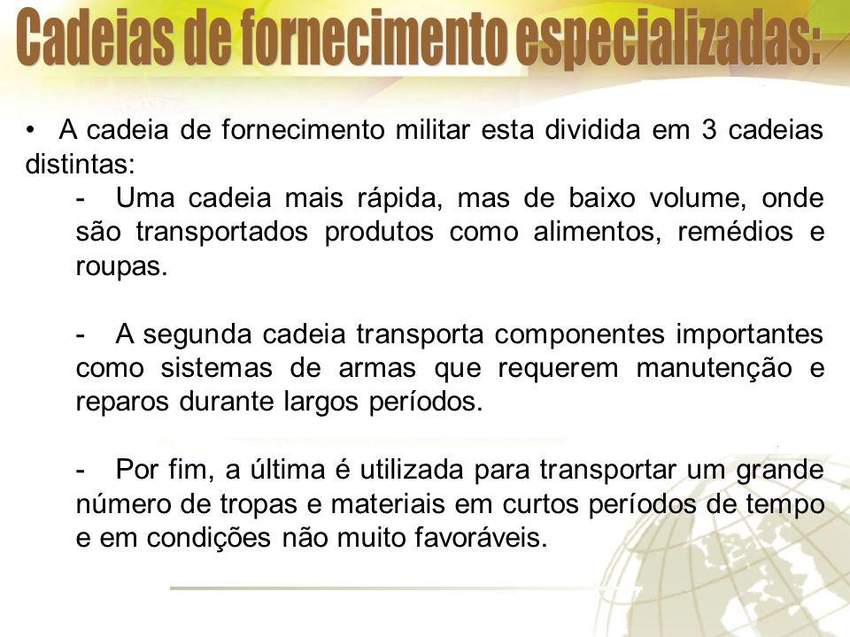 A cadeia de fornecimento militar esta dividida em 3 cadeias distintas: -Uma cadeia mais rápida, mas de baixo volume, onde são transportados produtos como alimentos, remédios e roupas.