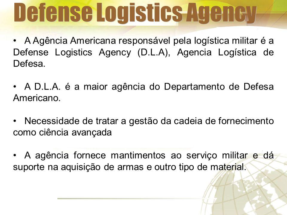 A Agência Americana responsável pela logística militar é a Defense Logistics Agency (D.L.A), Agencia Logística de Defesa.