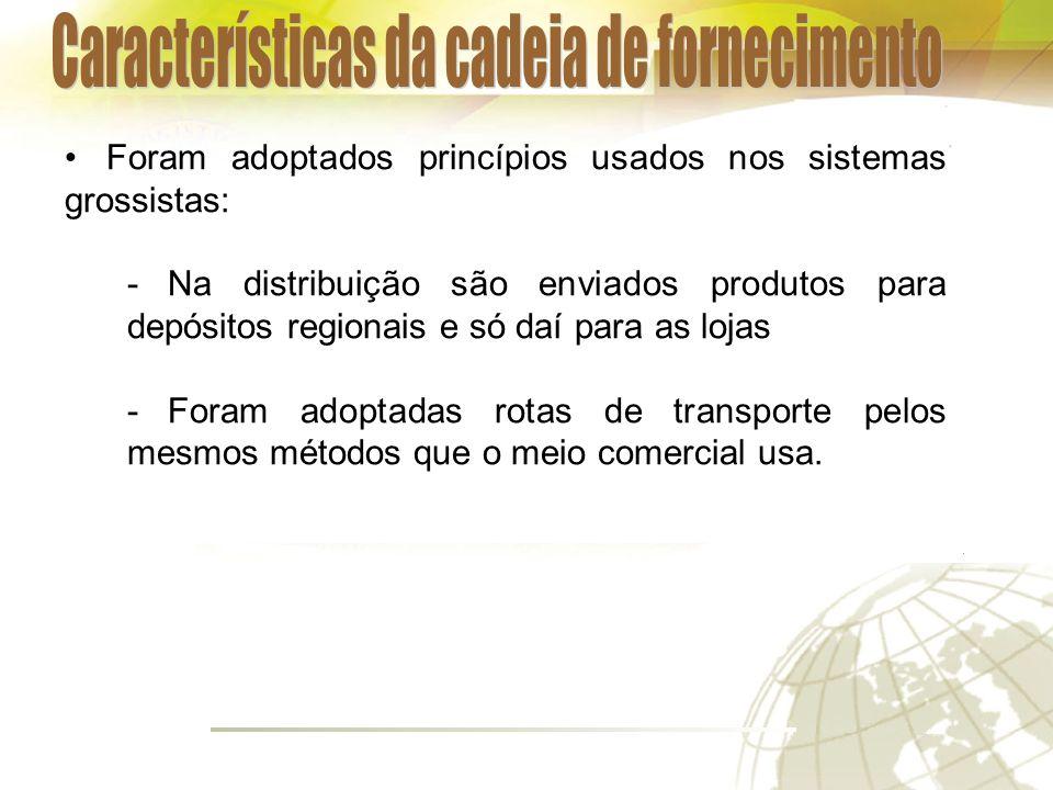 Foram adoptados princípios usados nos sistemas grossistas: -Na distribuição são enviados produtos para depósitos regionais e só daí para as lojas -Foram adoptadas rotas de transporte pelos mesmos métodos que o meio comercial usa.