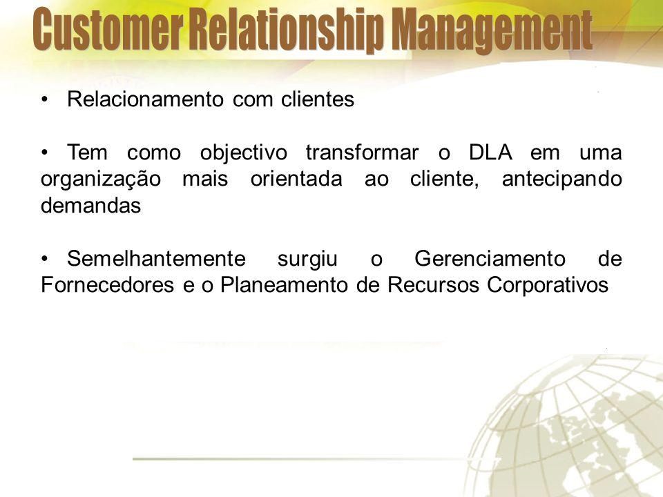 Relacionamento com clientes Tem como objectivo transformar o DLA em uma organização mais orientada ao cliente, antecipando demandas Semelhantemente surgiu o Gerenciamento de Fornecedores e o Planeamento de Recursos Corporativos