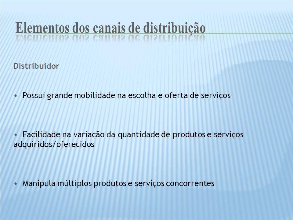 Distribuidor Possui grande mobilidade na escolha e oferta de serviços Facilidade na variação da quantidade de produtos e serviços adquiridos/oferecido
