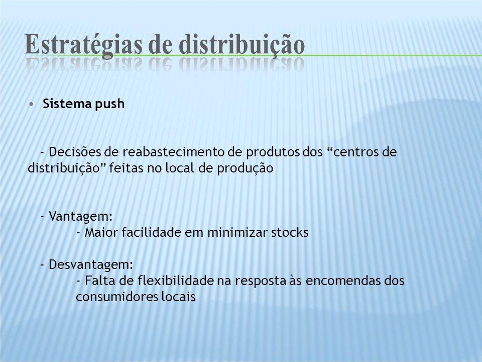 Sistema push - Decisões de reabastecimento de produtos dos centros de distribuição feitas no local de produção - Vantagem: - Maior facilidade em minim