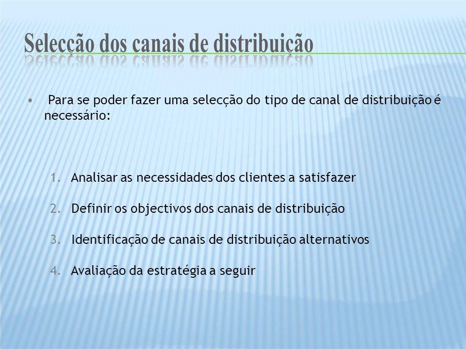 Para se poder fazer uma selecção do tipo de canal de distribuição é necessário: 1. Analisar as necessidades dos clientes a satisfazer 2. Definir os ob