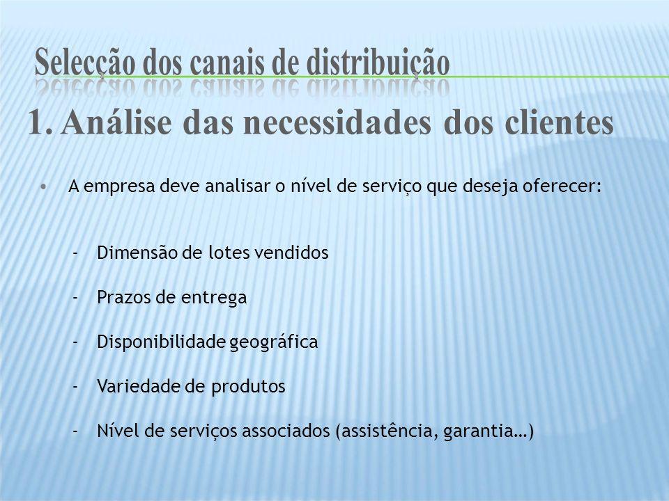A empresa deve analisar o nível de serviço que deseja oferecer: -Dimensão de lotes vendidos -Prazos de entrega -Disponibilidade geográfica -Variedade