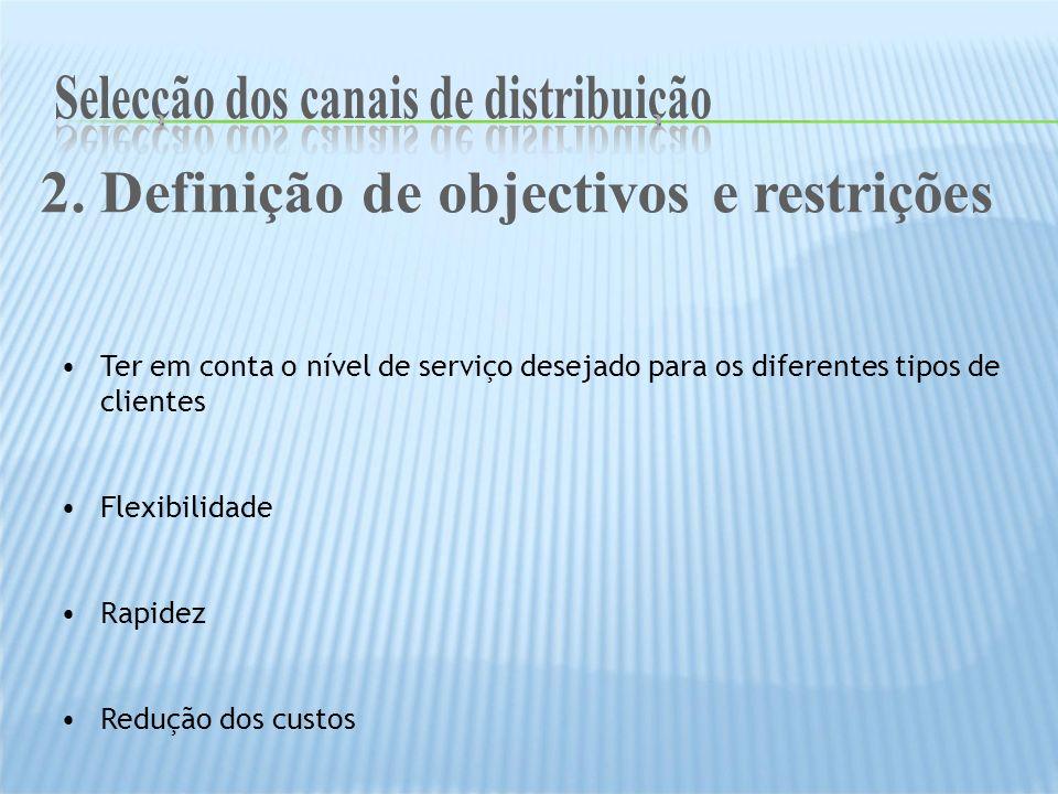 Ter em conta o nível de serviço desejado para os diferentes tipos de clientes Flexibilidade Rapidez Redução dos custos