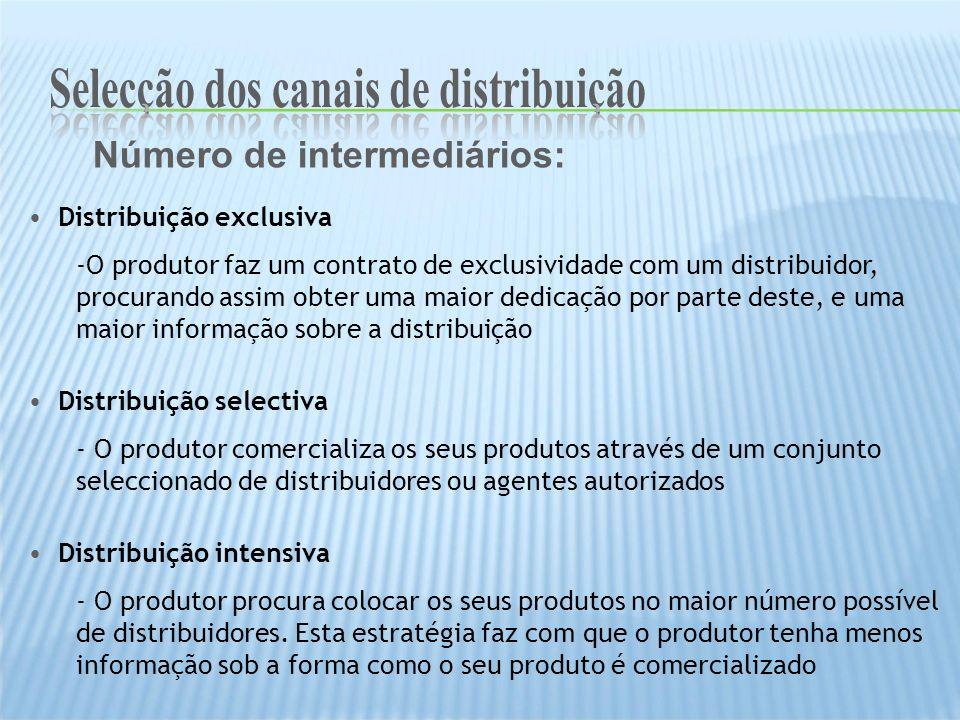 Número de intermediários: Distribuição exclusiva -O produtor faz um contrato de exclusividade com um distribuidor, procurando assim obter uma maior de