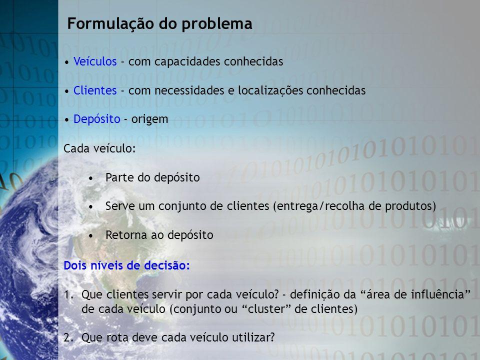 Veículos - com capacidades conhecidas Clientes - com necessidades e localizações conhecidas Depósito - origem Formulação do problema Cada veículo: Par