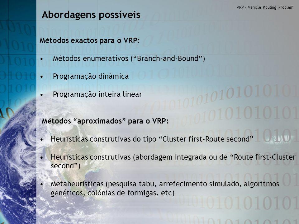 Métodos exactos para o VRP: Métodos enumerativos (Branch-and-Bound) Programação dinâmica Programação inteira linear Métodos aproximados para o VRP: He