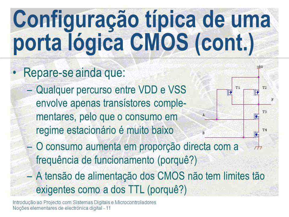 Introdução ao Projecto com Sistemas Digitais e Microcontroladores Noções elementares de electrónica digital - 11 Configuração típica de uma porta lógi