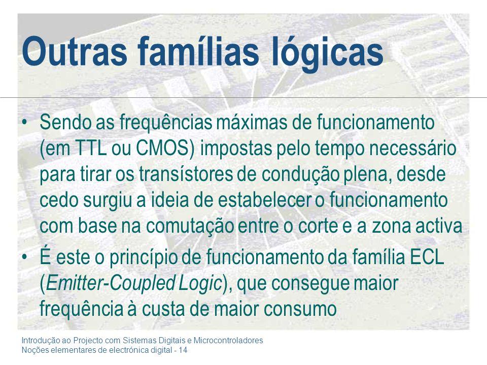 Introdução ao Projecto com Sistemas Digitais e Microcontroladores Noções elementares de electrónica digital - 14 Outras famílias lógicas Sendo as freq