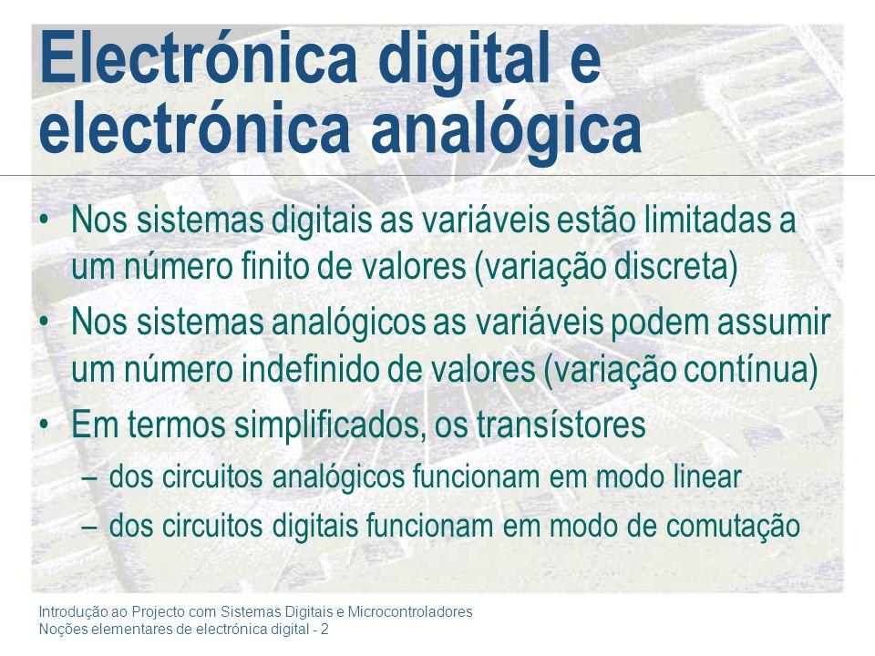Introdução ao Projecto com Sistemas Digitais e Microcontroladores Noções elementares de electrónica digital - 2 Electrónica digital e electrónica anal